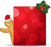 Gingerbread Man With Santa Hat And Blank Gift Tag And Holly Berr