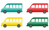 set of isolated colorful minibus