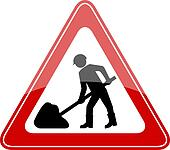 Vector road works sign