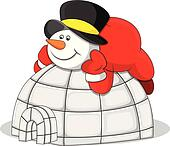 Snowman with Igloo House Vector