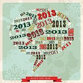 Vintage Happy New year 2013 social media bubble