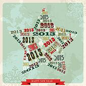 Vintage Happy New year 2013 star