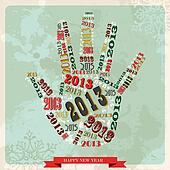 Vintage Happy New year 2013 hand