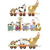 funny toys train set isolated on white background