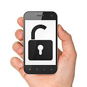 Hand holding smartphone with opened padlock