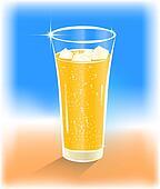 Glass of range juice with ice