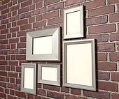 Blank Picture Frames On A Wall Perspective