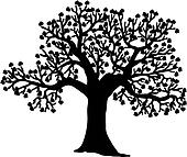 Shaped silhouette of tree