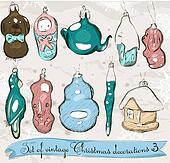 Set of real vintage Christmas decorations 2.