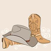 Cowboy boots and hat for design.American western clothes