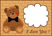 Frame Teddy bear with a bow tie