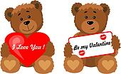 Teddy bear with a heart and a sign