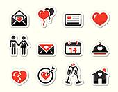 Valentines Day love icons set as la
