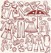 Set of woman autumn clothes and accessories