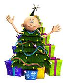 Man In Christmas Tree And Gifts