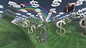 Money success fantasy landscape with floatin pigs