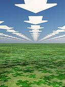 Arrows point forward in sky with puzzle piece shaded earth