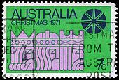 AUSTRALIA - CIRCA 1971 Three Kings on green