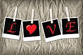 Instant photos on line spelling LOVE