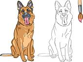 Vector Coloring Book of smiling dog