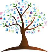Tree and networking symbols logo