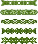 Green celtic ornaments and embellishments