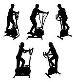 fitness people on gym bikes