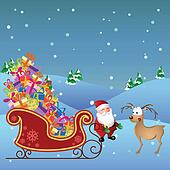 Cartoon Santa with deer and sled