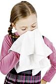Little Schoolgirl treat a runny nose