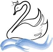 Swan with crown silhouette on lake
