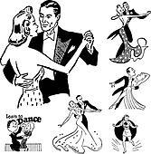 Vector Retro Ballroom Dancing Graphics