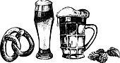 Oktoberfest set of beer, hops and pretzel. Hand drawn illustrati