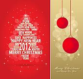 red and gold christmas card