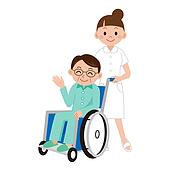 Man in a wheelchair and nurse