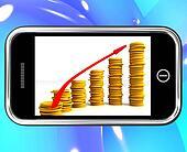 Money Increasing On Smartphone Showing Big Earnings