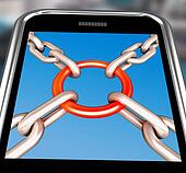 Chains Joint On Smartphone Showing Security Unity
