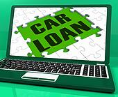 Car Loan On Laptop Shows Automobile Sales Website