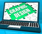 Graphic Design On Laptop Shows Stylized Creations