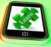Learn On Smartphone Showing E-learning
