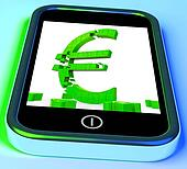 Euro Symbol On Smartphone Showing European Financial Investment
