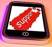 Support On Smartphone Showing Cellphone's Customer Service