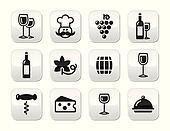 Wine buttons set - glass, bottle, r