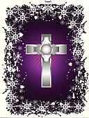A silver cross on a christmas background
