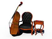 double bass with chair and heart