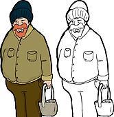 Large Older Man with Bag