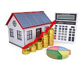 House with solar panels, calculator, schedule, and coins