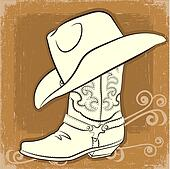Cowboy boot and hat.Vector vintage image