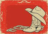 Cowboy boot and hat for design.Red American western background