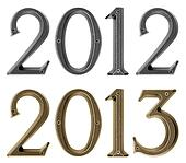 New year 2013 is coming concept - metal numbers 2012 and 2013