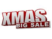 xmas big sale red white banner - letters and block
